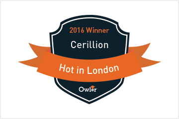 Cerillion Named Owler 'HOT in 2016' Winner in London