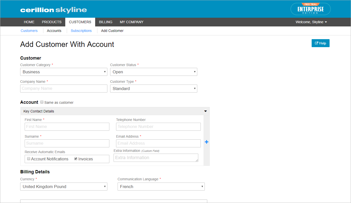 Add Customer / Account
